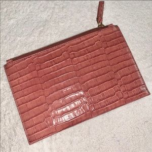 J. Crew pink genuine leather zip clutch wallet
